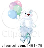 Poster, Art Print Of Cute Polar Bear Riding A Bicycle With Party Balloons