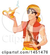 Clipart Graphic Of A Handsome Arabian Man Aladdin Holding A Genie Lamp Royalty Free Vector Illustration
