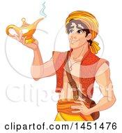 Handsome Arabian Man Aladdin Holding A Genie Lamp
