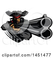 Tough Pirate Mascot Aiming A Rifle