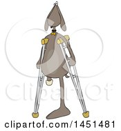 Clipart Graphic Of A Cartoon Three Legged Dog Using Crutches Royalty Free Vector Illustration