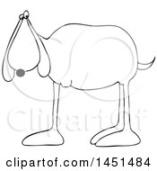Clipart Graphic Of A Cartoon Black And White Lineart 3 Legged Dog Royalty Free Vector Illustration