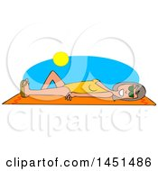 Clipart Graphic Of A Cartoon Cartoon Happy White Woman Sun Bathing On A Beach Towel Royalty Free Vector Illustration by djart