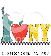 Clipart Graphic Of A I Love New York Design With An Apple And Statue Of Liberty Royalty Free Vector Illustration
