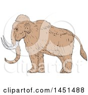 Clipart Graphic Of A Drawing Sketch Styled Woolly Mammoth In Profile Royalty Free Vector Illustration