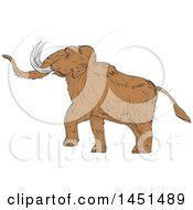 Clipart Graphic Of A Drawing Sketch Styled Walking Woolly Mammoth Royalty Free Vector Illustration by patrimonio
