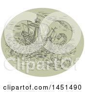 Clipart Graphic Of A Drawing Sketch Styled Tall Ship In A Turbulent Ocean Sea With Attacking Serpents And Sea Dragons Royalty Free Vector Illustration