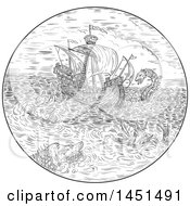 Clipart Graphic Of A Black And White Drawing Sketch Styled Tall Ship In A Turbulent Ocean Sea With Attacking Serpents And Sea Dragons Royalty Free Vector Illustration