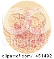 Clipart Graphic Of A Drawing Sketch Styled Tall Ship In A Stormy Sea Royalty Free Vector Illustration