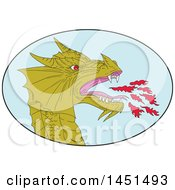 Clipart Graphic Of A Drawing Sketched Styled Fire Breathing Dragon Head In A Blue Oval Royalty Free Vector Illustration