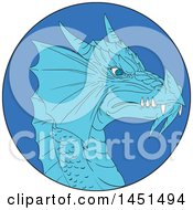 Clipart Graphic Of A Drawing Sketched Styled Dragon Head In A Blue Circle Royalty Free Vector Illustration