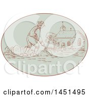 Clipart Graphic Of A Drawing Sketch Styled Medieval Grave Digger Working In A Cemetery Royalty Free Vector Illustration