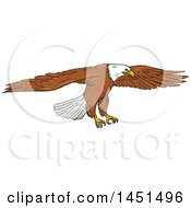 Clipart Graphic Of A Sketched Bald Eagle Swooping Royalty Free Vector Illustration