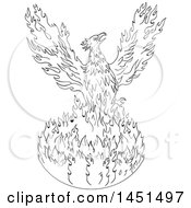 Clipart Graphic Of A Black And White Drawing Sketch Styled Rising Phoenix Royalty Free Vector Illustration by patrimonio
