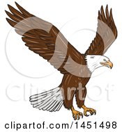 Clipart Graphic Of A Sketched Bald Eagle Flying Royalty Free Vector Illustration by patrimonio