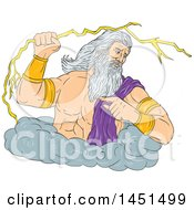 Clipart Graphic Of A Drawing Sketch Styled Greek God Zeus Holding A Lightning Bolt In A Cloud Royalty Free Vector Illustration by patrimonio