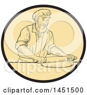 Clipart Graphic Of A Drawing Sketch Styled Medieval Baker Rolling Out Dough In An Oval Royalty Free Vector Illustration