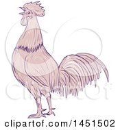 Drawing Sketch Styled Crowing Rooster In Profile With Pink And Purple Tones