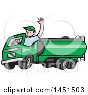 Clipart Graphic Of A Cartoon Friendly Caucasian Male Driver Waving And Driving A Green Petrol Tanker Royalty Free Vector Illustration