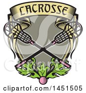 Clipart Graphic Of A Retro Woodcut Pink Ball And Pink Handled Lacrosse Sticks With A Banner And Leaves Royalty Free Vector Illustration by patrimonio