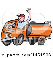 Cartoon Friendly Caucasian Male Driver Waving And Driving An Orange Tanker Truck