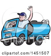 Cartoon Friendly Caucasian Male Driver Waving And Driving A Blue Tanker Truck
