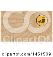 Clipart Of A Retro Coffee Moped In A Circle And Brown Rays Background Or Business Card Design Royalty Free Illustration