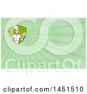 Retro Cartoon White Male Chef Holding A Spatula And Serving A Roasted Chicken And Green Rays Background Or Business Card Design