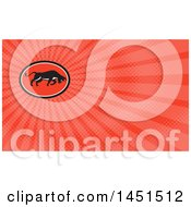 Clipart Of A Retro Charging Bull In A Black White And Red Oval And Red Rays Background Or Business Card Design Royalty Free Illustration
