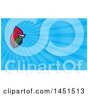 Retro Cartoon Red Cardinal Bird With A Leaf In His Mouth And Blue Rays Background Or Business Card Design