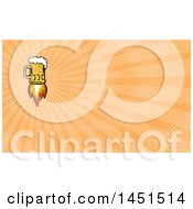 Clipart Of A Retro Flying Beer Mug Rocket And Orange Rays Background Or Business Card Design Royalty Free Illustration by patrimonio