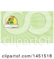 Clipart Of A Sketched Worker Bee Flying With A Round Gift Box And Green Rays Background Or Business Card Design Royalty Free Illustration
