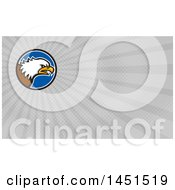 Cartoon Angry Bald Eagle Head In A Blue Black And White Circle And Gray Rays Background Or Business Card Design