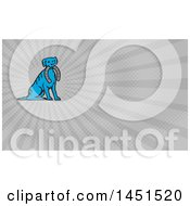 Clipart Of A Retro Blue Dog Sitting With A Horseshoe In His Mouth And Gray Rays Background Or Business Card Design Royalty Free Illustration by patrimonio
