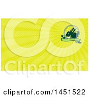 Clipart Of A Retro Woodcut Rabbit In A Sunrise Circle With A Green Banner And Yellow Rays Background Or Business Card Design Royalty Free Illustration by patrimonio