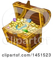 Clipart Graphic Of A Cartoon Treasure Chest Full Of Jewels And Coins Royalty Free Vector Illustration