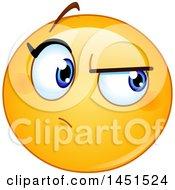 Clipart Graphic Of A Cartoon Suspicious Female Yellow Emoji Smiley Face Emoticon Royalty Free Vector Illustration