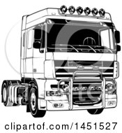Clipart Graphic Of A Black And White Big Rig Truck Royalty Free Vector Illustration
