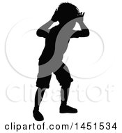 Clipart Graphic Of A Black Silhouetted Little Boy Peeking Through An Invisible Window Royalty Free Vector Illustration