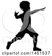 Black Silhouetted Little Boy