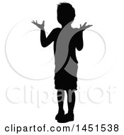 Black Silhouetted Little Boy Shrugging