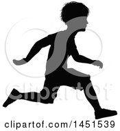 Black Silhouetted Little Boy Running