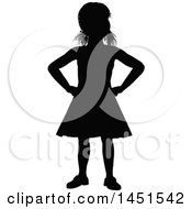 Black Silhouetted Little Girl With Her Hands On Her Hips