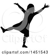 Black Silhouetted Little Girl Cheering