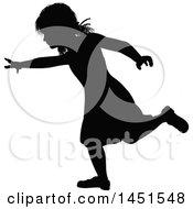 Black Silhouetted Little Girl Running