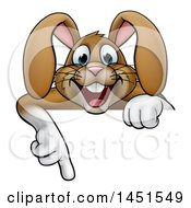 Cartoon Happy Brown Easter Bunny Rabbit Pointing Down Over A Sign