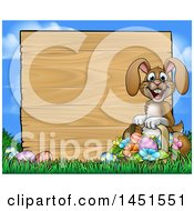 Cartoon Happy Brown Easter Bunny Rabbit Holding A Basket In Front A Wood Sign Against Sky