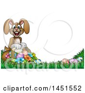 Cartoon Happy Brown Easter Bunny Rabbit With A Basket And Eggs In Grass