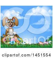 Cartoon Happy Brown Easter Bunny Rabbit With A Basket And Eggs In Grass Against Sky