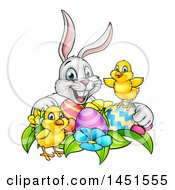 Clipart Graphic Of A Cartoon Happy White Bunny Rabbit With Cute Yellow Chicks With Easter Eggs And Flowers Royalty Free Vector Illustration